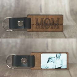 WOODEN KEYCHAIN WITH PHOTO ON ONE SIDE, LASER ENGRAVED DESIGN ON THE OTHER.